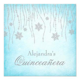 "Winter Wonderland Diamond Snowflakes Quinceanera 5.25"" Square Invitation Card"