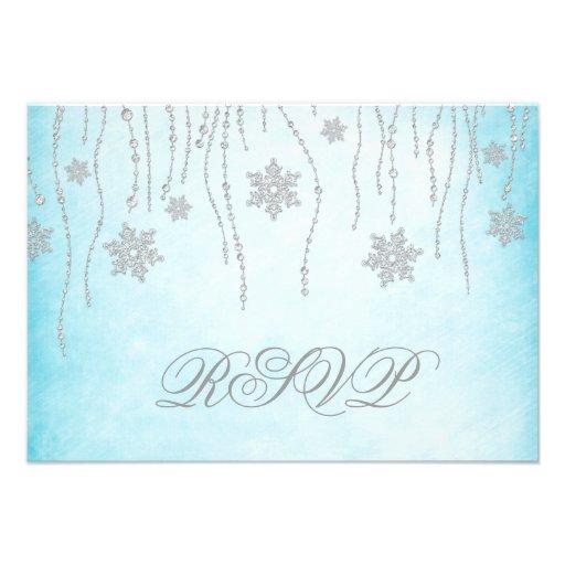 Winter Wonderland Diamond Snowflakes RSVP Card Invitations