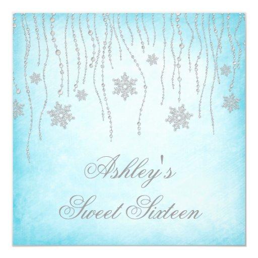 Winter Wonderland Diamond Snowflakes Sweet 16 Personalized Announcement