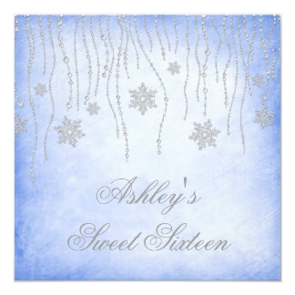 Winter Wonderland Diamond Snowflakes Sweet 16 Personalized Announcement
