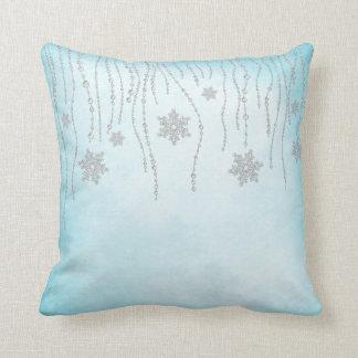Winter Wonderland Diamond Snowflakes Teal Blue Throw Pillows