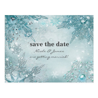 Winter Wonderland Elegant Snowflakes Save the date Postcard