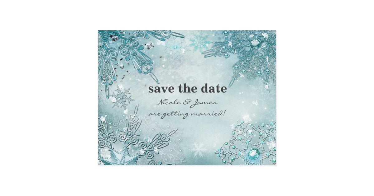 Winter Wonderland Elegant Snowflakes Save the date ...