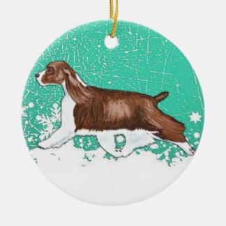 Winter Wonderland English Springer Spaniel Ornamen Ceramic Ornament
