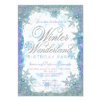 Winter Wonderland Frozen Birthday Party Card