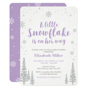 Purple and Silver Winter Baby Shower Invitations, Winter Wonderland