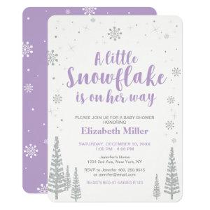 Winter Wonderland, Girl Baby Shower 4.5x6.25 Invitation