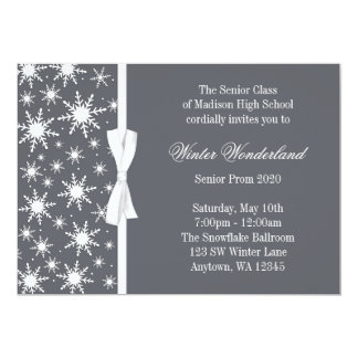 Winter Wonderland Gray Snowflakes Bow Prom Card