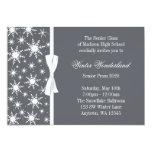 Winter Wonderland Gray Snowflakes Bow Prom 5x7 Paper Invitation Card