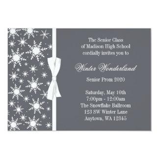 "Winter Wonderland Gray Snowflakes Bow Prom 5"" X 7"" Invitation Card"