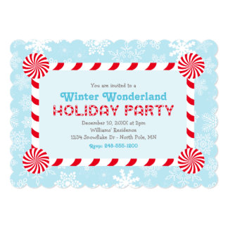 Winter Wonderland Holiday Party | Candy Cane Frame 5x7 Paper Invitation Card