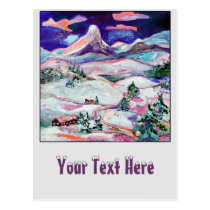 post cards, winter, holiday, christmas, festive, winter painting, fine art, ginette, magical, snow, snow slopes, mountains, evergreen, customizable, Postcard with custom graphic design
