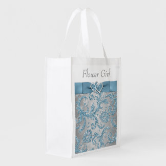 Winter Wonderland, Joined Hearts Flower Girl Bag Reusable Grocery Bags