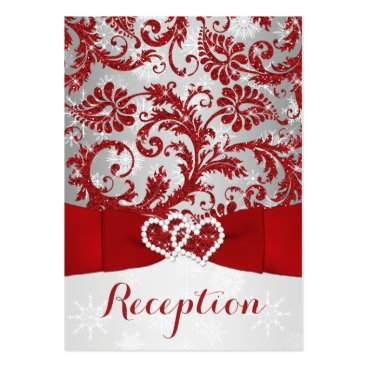 Winter Wonderland, Joined Hearts Insert - Red Pack Of Chubby Business Cards