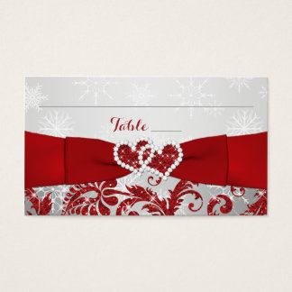Winter Wonderland, Joined Hearts Place Cards - Red