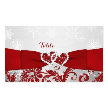 Winter Wonderland, Joined Hearts Place Cards - Red Double-Sided Standard Business Cards (Pack Of 100)