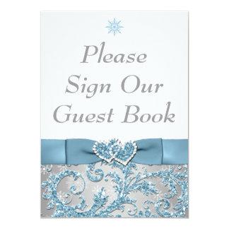 Winter Wonderland Joined Hearts Table Card Custom Invitations