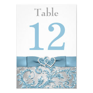 Winter Wonderland Joined Hearts Table Number Card