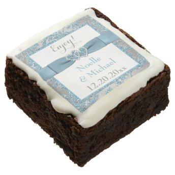 Winter Wonderland, Joined Hearts Wedding Brownies Square Brownie