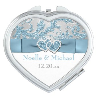 Winter Wonderland, Joined Hearts Wedding Compact Mirrors For Makeup