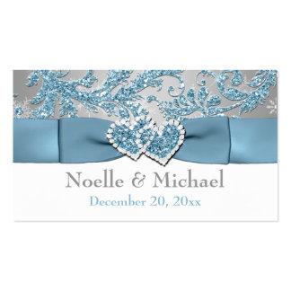 Winter Wonderland, Joined Hearts Wedding Favor Tag Business Card Templates