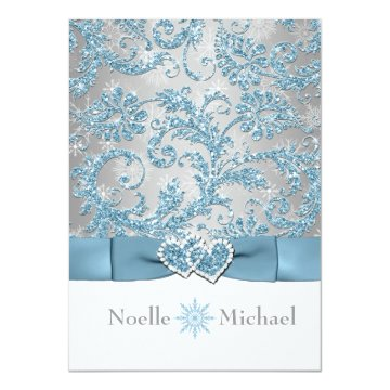 Winter Wonderland Joined Hearts Wedding Invite at Zazzle