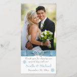 """Winter Wonderland Joined Hearts Wedding Photo Card<br><div class=""""desc"""">This elegant ice blue, white, and gray snowflakes wedding photocard has a PRINTED RIBBON with a pair of PRINTED FAUX glitter and diamond jewel joined hearts on it that matches the winter wedding invitation shown below. ****PLEASE make sure that your text is aligned how you want it, and everything has...</div>"""