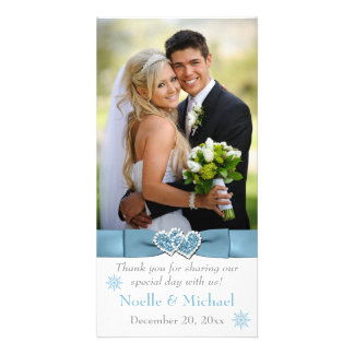 Winter Wonderland Joined Hearts Wedding Photo Card