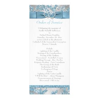 Winter Wonderland, Joined Hearts Wedding Program 2 Rack Card Design