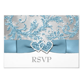 Winter Wonderland, Joined Hearts Wedding RSVP 2 Card