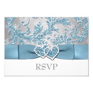 Winter Wonderland, Joined Hearts Wedding RSVP 2 Card