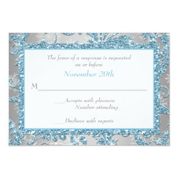 Winter Wonderland, Joined Hearts Wedding RSVP 3 Card