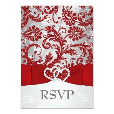"Winter Wonderland Joined Hearts Wedding RSVP - Red 3.5"" X 5"" Invitation Card"