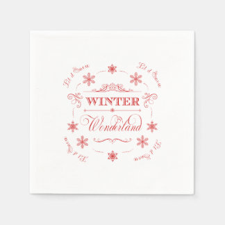 Winter Wonderland Let it Snow Ski Season Christmas Paper Napkin