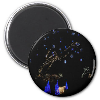 Winter Wonderland Lights Blue and White Holiday 2 Inch Round Magnet