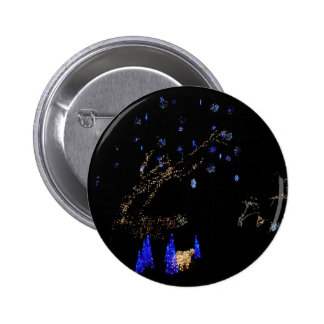 Winter Wonderland Lights Blue and White Holiday Button