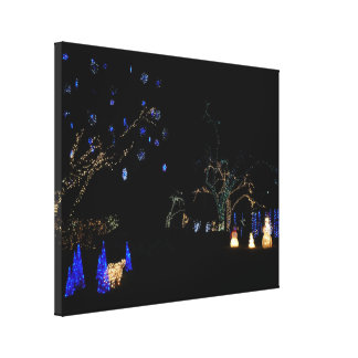 Winter Wonderland Lights Blue and White Holiday Canvas Print
