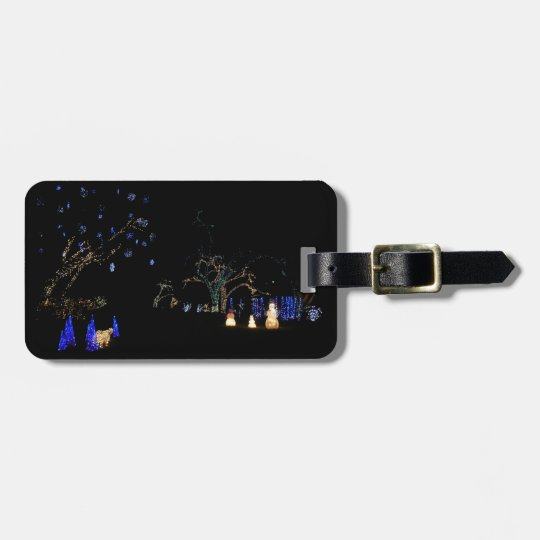 Winter Wonderland Lights Blue and White Holiday Luggage Tag