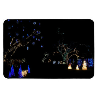 Winter Wonderland Lights Blue and White Holiday Rectangular Photo Magnet