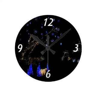 Winter Wonderland Lights Blue and White Holiday Round Clock