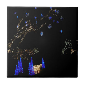 Winter Wonderland Lights Blue and White Holiday Small Square Tile