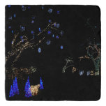 Winter Wonderland Lights Blue and White Holiday Trivet
