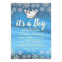 Winter Wonderland Little Prince Boy Baby Shower Card