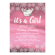 Winter Wonderland Little Princess Girl Baby Shower Card