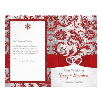 Winter Wonderland Love Hearts Wedding Program -Red