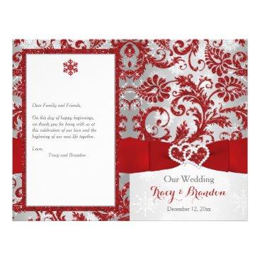 "Winter Wonderland Love Hearts Wedding Program -Red 8.5"" X 11"" Flyer"