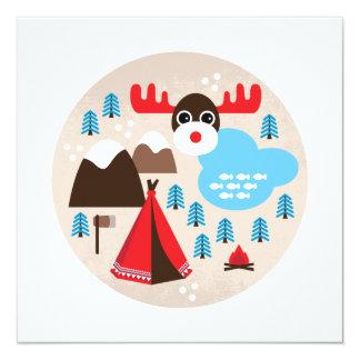 Winter wonderland moose christmas postcard