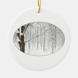 Winter Wonderland Double-Sided Ceramic Round Christmas Ornament