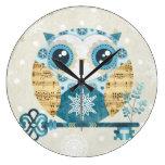 Winter Wonderland Owl Wall Clocks