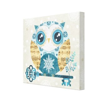 Winter Wonderland Owl Wrapped Canvas Print